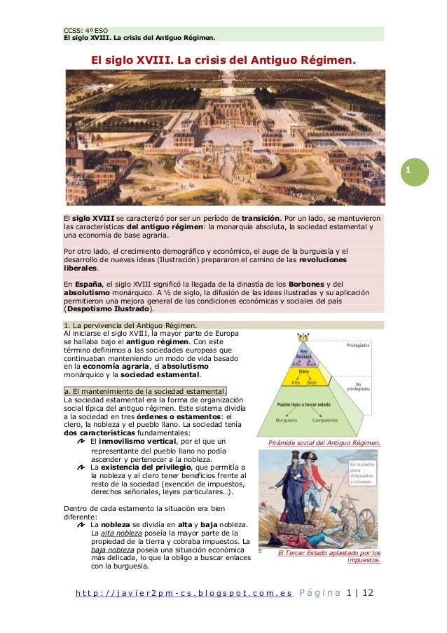 CCSS: 4º ESO El siglo XVIII. La crisis del Antiguo Régimen. h t t p : / / j a v i e r 2 p m - c s . b l o g s p o t . c o ...