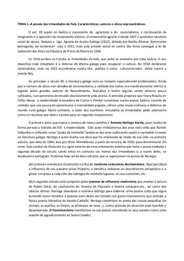 TEMA 1.-A poesía das Irmandades da Fala. Características, autores e obras representativas. O sec. XX supón en Galicia o na...