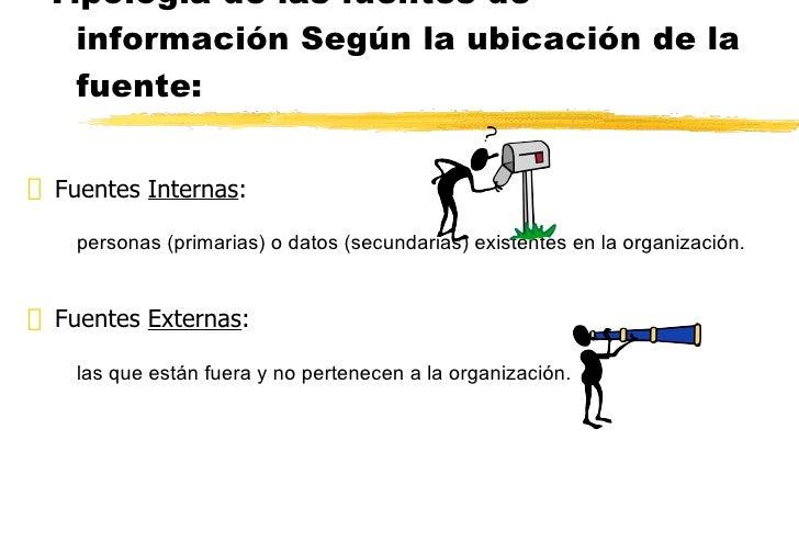Tipología de las fuentes de información Según la ubicación de la fuente: <ul><li>Fuentes  Internas :  </li></ul><ul><ul><l...