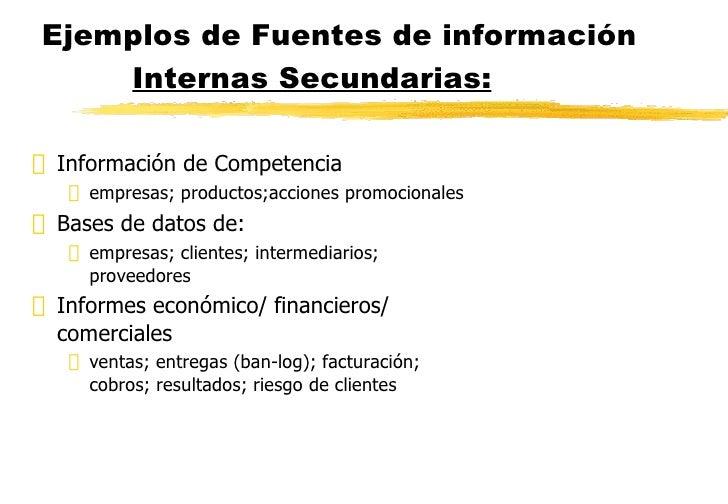 Ejemplos de Fuentes de información  Internas Secundarias: <ul><li>Información de Competencia </li></ul><ul><ul><li>empresa...