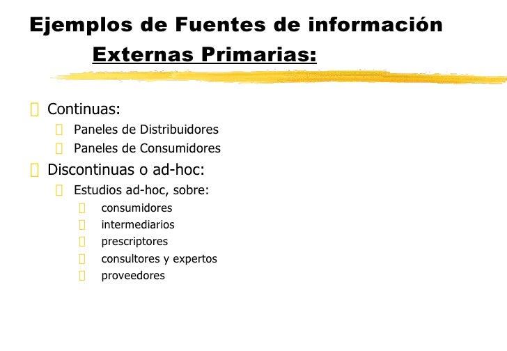 Ejemplos de Fuentes de información  Externas Primarias: <ul><li>Continuas: </li></ul><ul><ul><li>Paneles de Distribuidores...