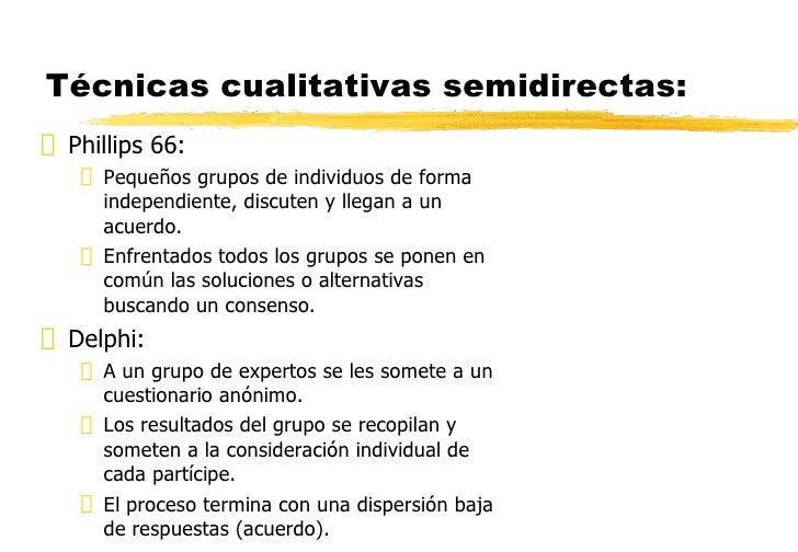Técnicas cualitativas semidirectas: <ul><li>Phillips 66: </li></ul><ul><ul><li>Pequeños grupos de individuos de forma inde...