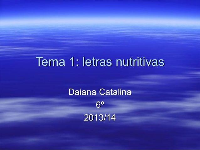 Tema 1: letras nutritivas Daiana Catalina 6º 2013/14