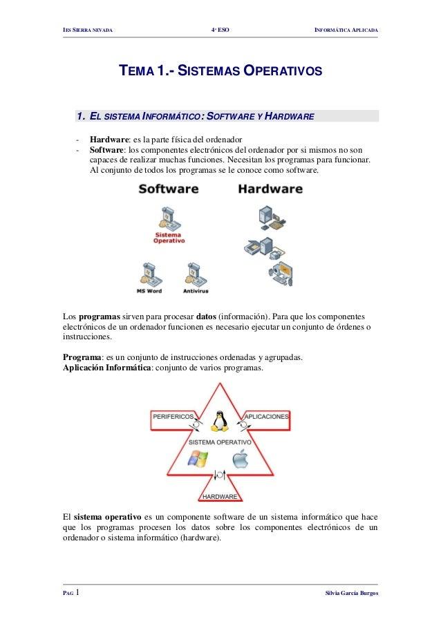 IES SIERRA NEVADA  4º ESO  INFORMÁTICA APLICADA  TEMA 1.- SISTEMAS OPERATIVOS 1. EL SISTEMA INFORMÁTICO: SOFTWARE Y HARDWA...
