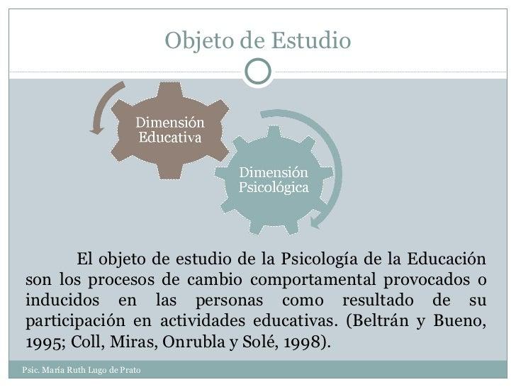 Objeto de Estudio Psic. María Ruth Lugo de Prato El objeto de estudio de la Psicología de la Educación son los procesos de...