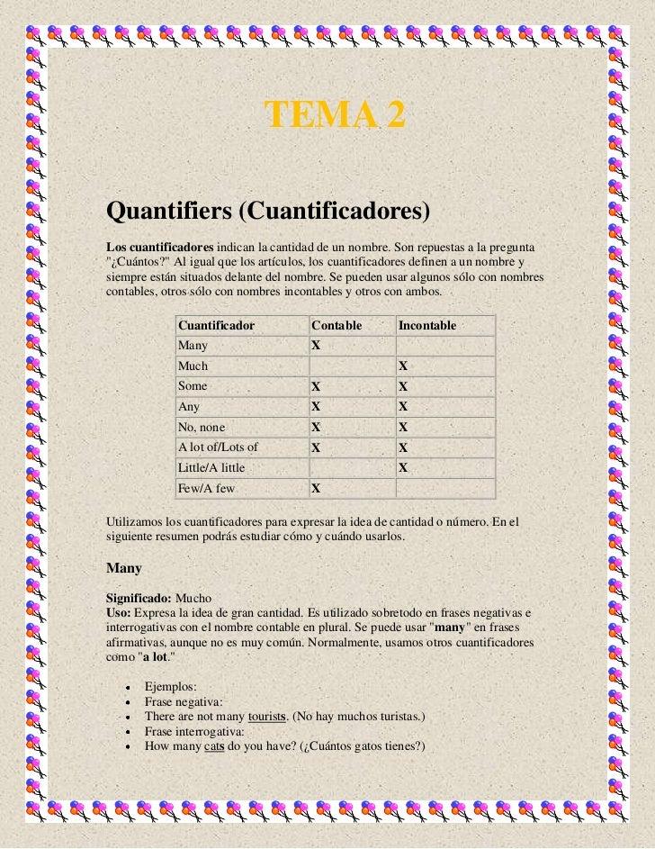 """TEMA 2Quantifiers (Cuantificadores)Los cuantificadores indican la cantidad de un nombre. Son repuestas a la pregunta""""¿Cuán..."""