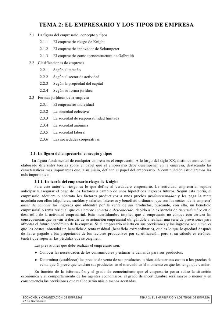 TEMA 2: EL EMPRESARIO Y LOS TIPOS DE EMPRESA    2.1 La figura del empresario: concepto y tipos           2.1.1   El empres...