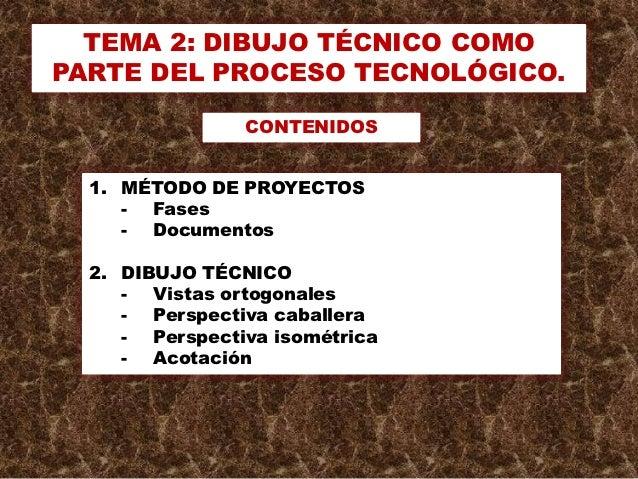 TEMA 2: DIBUJO TÉCNICO COMOPARTE DEL PROCESO TECNOLÓGICO.                CONTENIDOS  1. MÉTODO DE PROYECTOS     - Fases   ...
