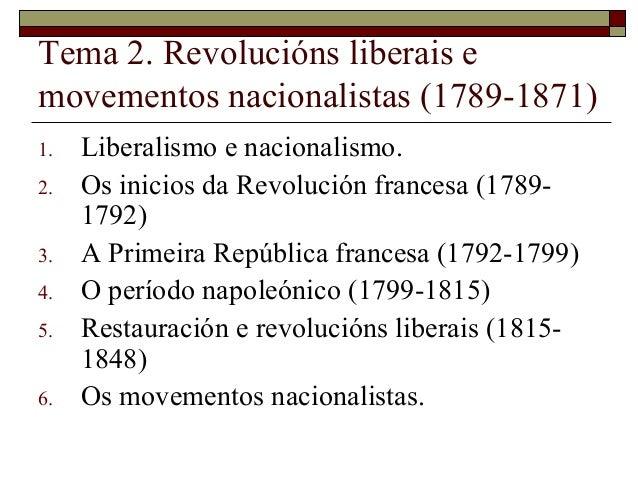 Tema 2. Revolucións liberais emovementos nacionalistas (1789-1871)1.   Liberalismo e nacionalismo.2.   Os inicios da Revol...