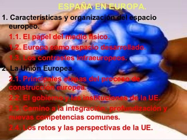 ESPAÑA EN EUROPA. 1. Características y organización del espacio europeo. 1.1. El papel del medio físico. 1.2. Europa como ...