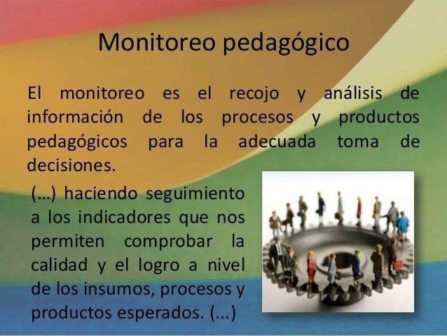 Monitoreo pedagógico El monitoreo es el recojo y análisis de información de los procesos y productos pedagógicos para la a...
