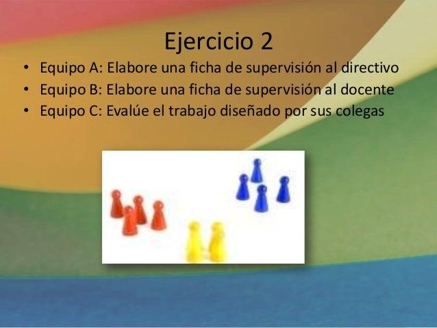Ejercicio 2 • Equipo A: Elabore una ficha de supervisión al directivo • Equipo B: Elabore una ficha de supervisión al doce...