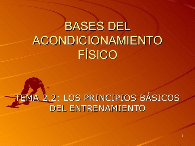 BASES DEL ACONDICIONAMIENTO FÍSICO  TEMA 2.2: LOS PRINCIPIOS BÁSICOS DEL ENTRENAMIENTO 1