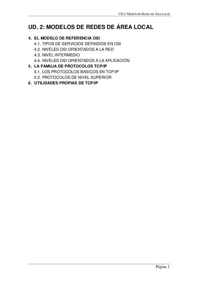 UD.2 Modelo de Redes de Área Local Página 1 UD. 2: MODELOS DE REDES DE ÁREA LOCAL 4. EL MODELO DE REFERENCIA OSI 4.1. TIPO...