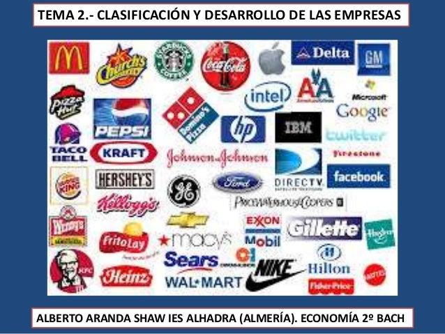 TEMA 2.- CLASIFICACIÓN Y DESARROLLO DE LAS EMPRESAS ALBERTO ARANDA SHAW IES ALHADRA (ALMERÍA). ECONOMÍA 2º BACH