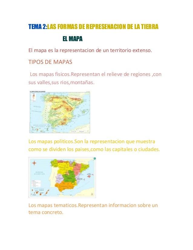 TEMA 2:LAS FORMAS DE REPRESENACION DE LA TIERRA EL MAPA El mapa es la representacion de un territorio extenso. TIPOS DE MA...