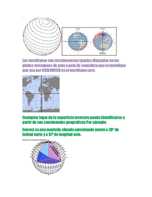 Los meridianos son circuferencias iguales dibujadas en los globos terraqueos de polo a polo.Se considera que el meridiano ...