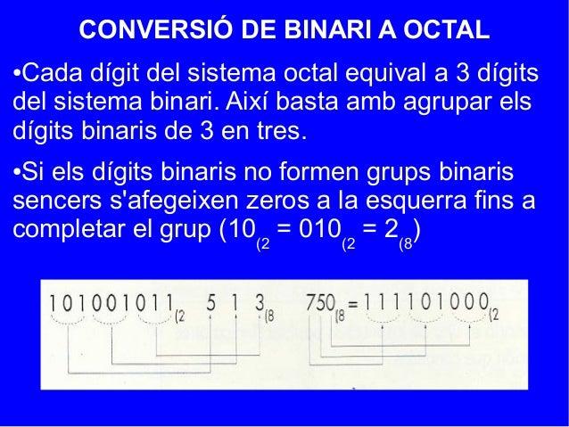 CONVERSIÓ DE BINARI A OCTAL●Cada dígit del sistema octal equival a 3 dígitsdel sistema binari. Així basta amb agrupar elsd...