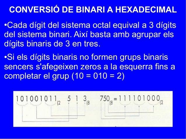 CONVERSIÓ DE BINARI A HEXADECIMAL●Cada dígit del sistema octal equival a 3 dígitsdel sistema binari. Així basta amb agrupa...