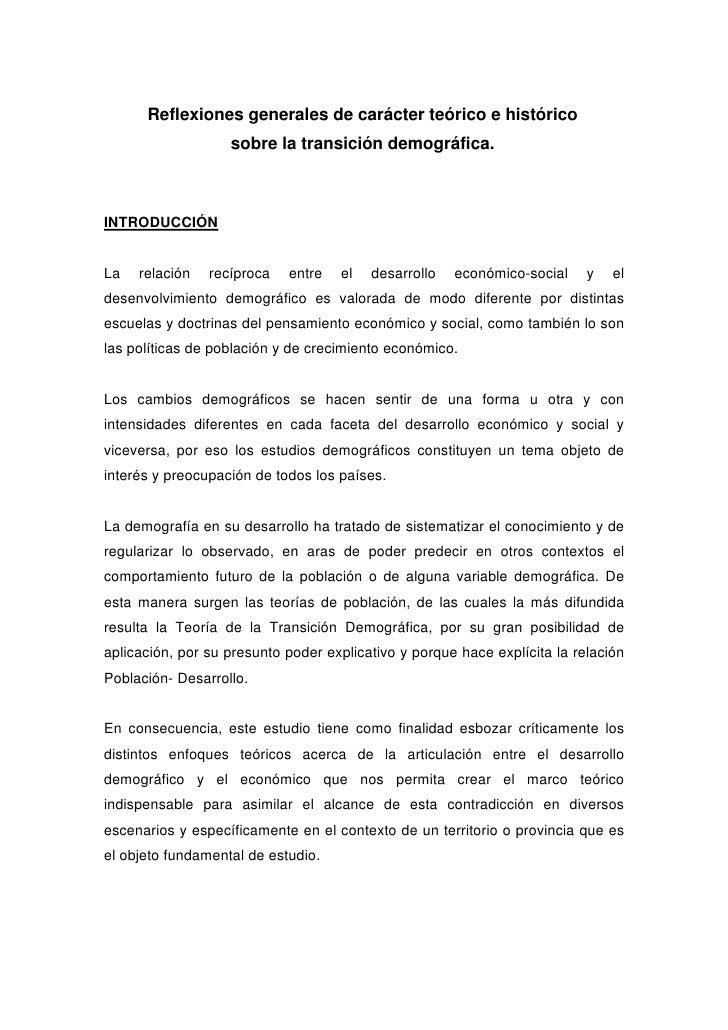 Reflexiones generales de carácter teórico e histórico                    sobre la transición demográfica.    INTRODUCCIÓN ...