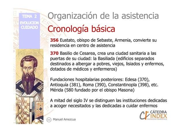 Organización de la asistencia Cronología básica 356 Eustato, obispo de Sebaste, Armenia, convierte su residencia en centro...
