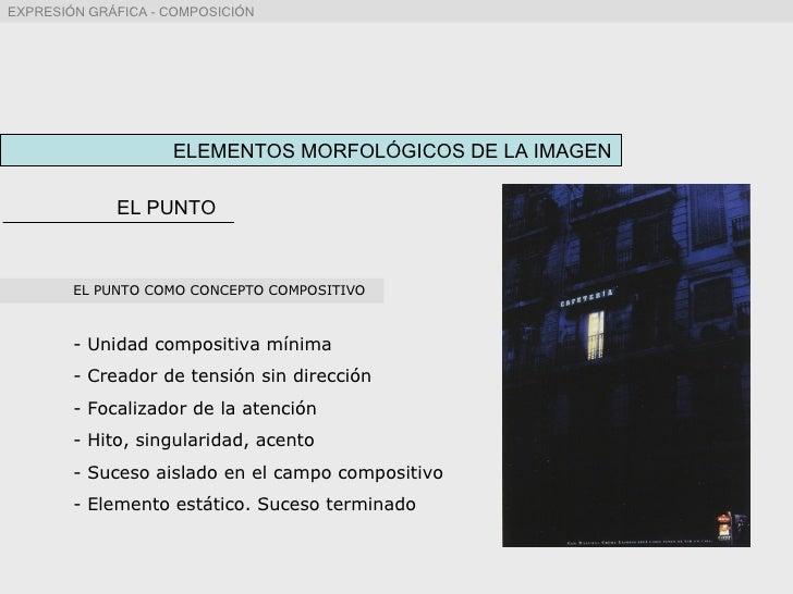 ELEMENTOS MORFOLÓGICOS DE LA IMAGEN EL PUNTO <ul><li>EL PUNTO COMO CONCEPTO COMPOSITIVO </li></ul><ul><li>Unidad compositi...