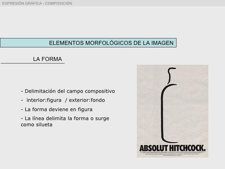 ELEMENTOS MORFOLÓGICOS DE LA IMAGEN <ul><li>Delimitación del campo compositivo </li></ul><ul><li>interior:figura  / exteri...