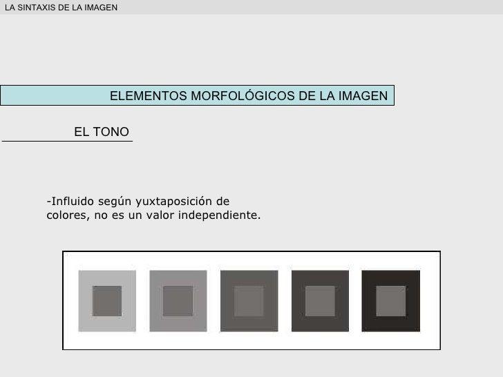 ELEMENTOS MORFOLÓGICOS DE LA IMAGEN EL TONO <ul><li>Influido según yuxtaposición de colores, no es un valor independiente....