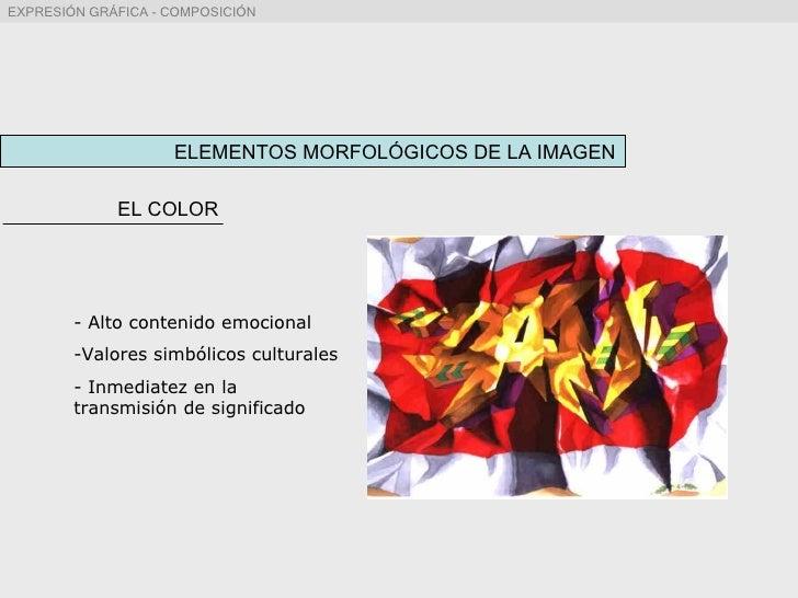 ELEMENTOS MORFOLÓGICOS DE LA IMAGEN EL COLOR <ul><li>Alto contenido emocional </li></ul><ul><li>Valores simbólicos cultura...