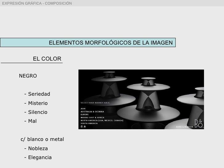 ELEMENTOS MORFOLÓGICOS DE LA IMAGEN EL COLOR NEGRO - Seriedad - Misterio - Silencio - Mal c/ blanco o metal - Nobleza - El...
