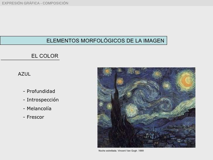ELEMENTOS MORFOLÓGICOS DE LA IMAGEN EL COLOR AZUL - Profundidad - Introspección - Melancolía - Frescor Noche estrellada. V...