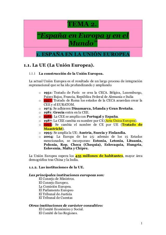 """TEMA 2.       """"España en Europa y en el               Mundo""""      1. ESPAÑA EN LA UNIÓN EUROPEA1.1. La UE (La Unión Europe..."""