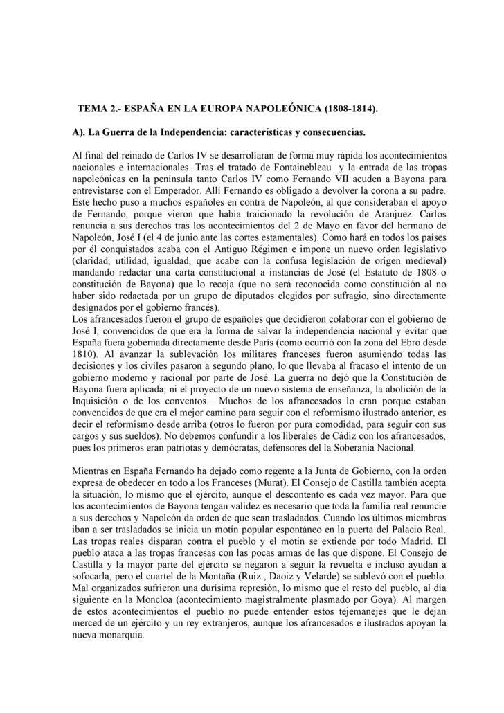 TEMA 2.- ESPAÑA EN LA EUROPA NAPOLEÓNICA (1808-1814).  A). La Guerra de la Independencia: características y consecuencias....