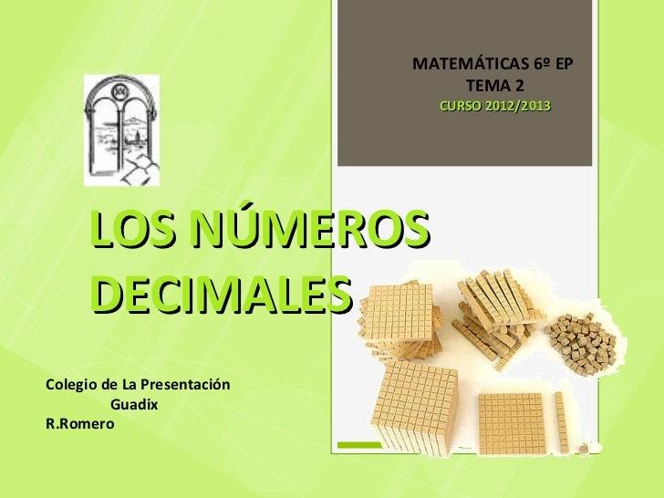 MATEMÁTICAS 6º EP                                 TEMA 2                               CURSO 2012/2013     LOS NÚMEROS    ...