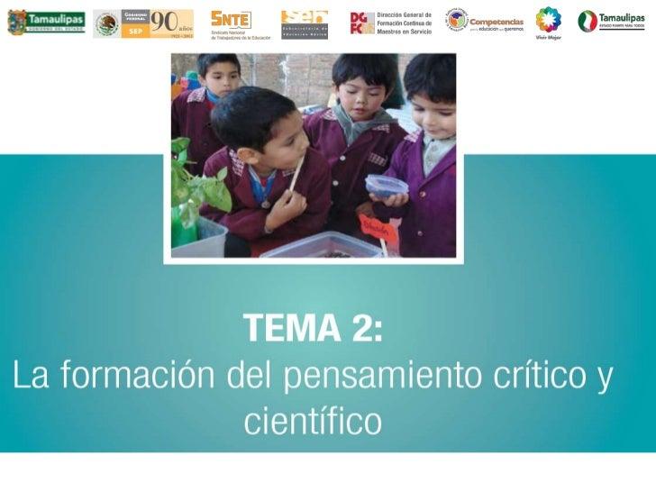 Tema 2. La formación del pensamiento crítico y científicoEste tema aporta a los maestrosherramientas conceptuales y deanál...