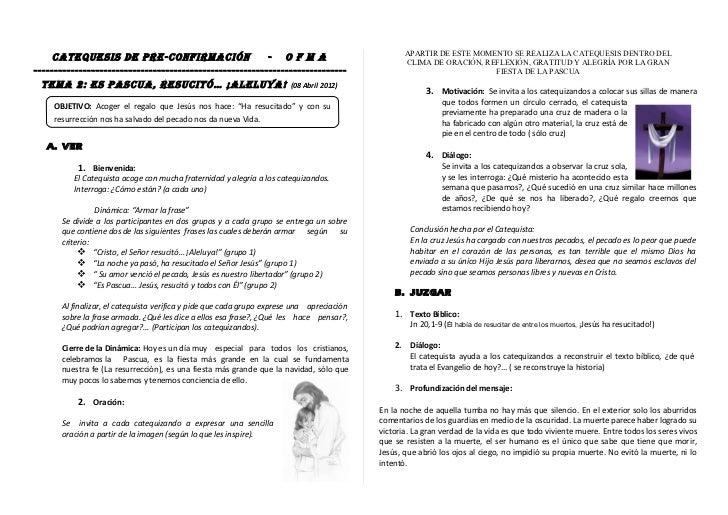 APARTIR DE ESTE MOMENTO SE REALIZA LA CATEQUESIS DENTRO DEL     CATEQUESIS DE PRE-CONFIRMACIÓN                      - O F ...
