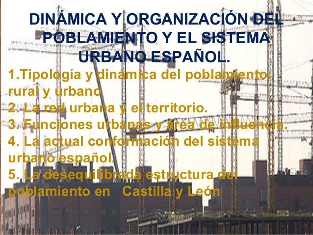 DINÁMICA Y ORGANIZACIÓN DEL  POBLAMIENTO Y EL SISTEMA  URBANO ESPAÑOL.  1.Tipología y dinámica del poblamiento:  rural y u...