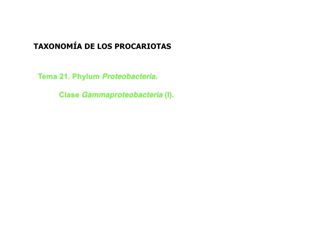 TAXONOMÍA DE LOS PROCARIOTASTema 21. Phylum Proteobacteria.     Clase Gammaproteobacteria (I).