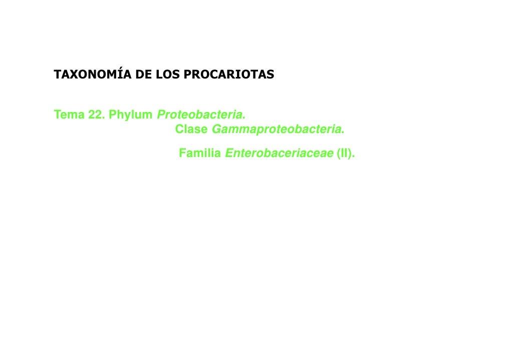 TAXONOMÍA DE LOS PROCARIOTASTema 22. Phylum Proteobacteria.                   Clase Gammaproteobacteria.                  ...