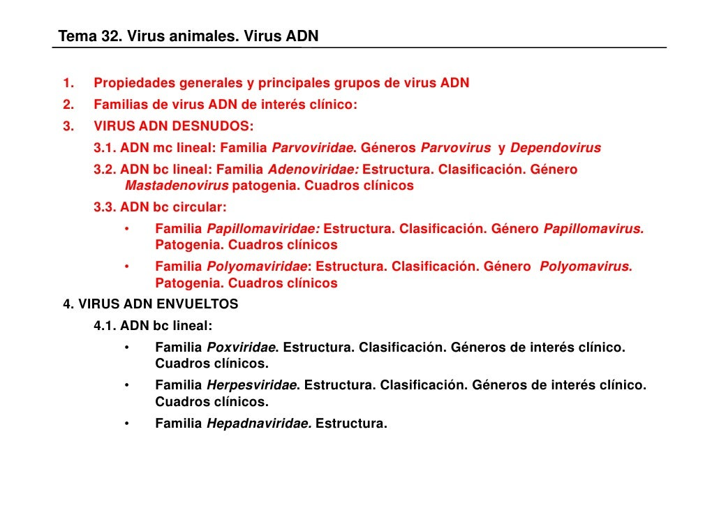Tema 32. Virus animales. Virus ADN1.   Propiedades generales y principales grupos de virus ADN2.   Familias de virus ADN d...