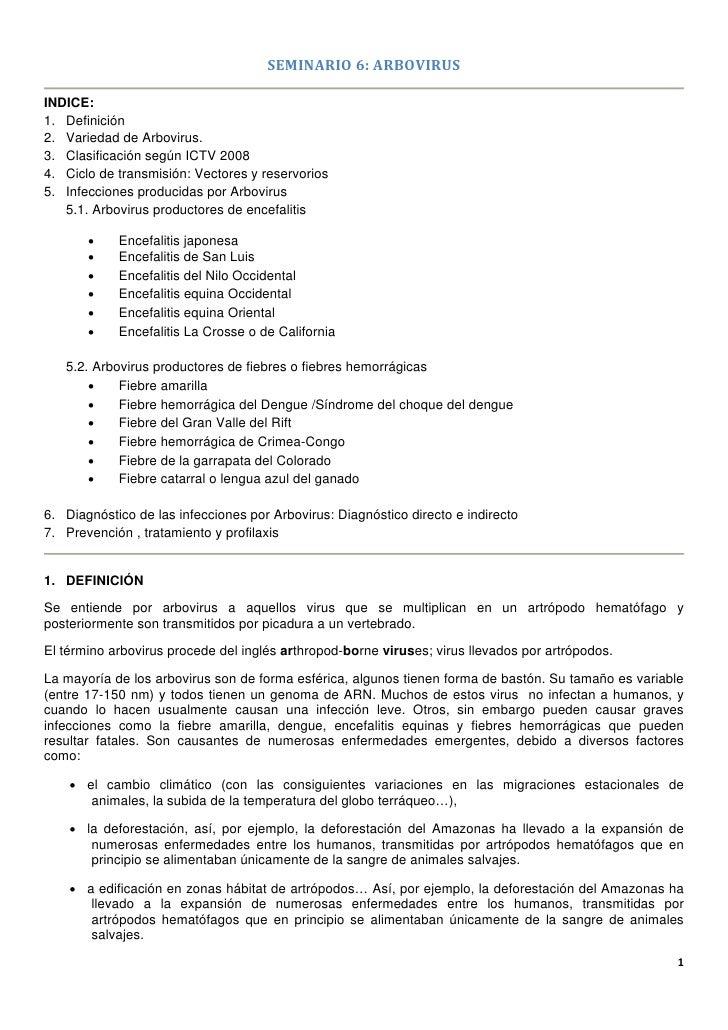 SEMINARIO6:ARBOVIRUSINDICE:1. Definición2. Variedad de Arbovirus.3. Clasificación según ICTV 20084. Ciclo de transmisió...