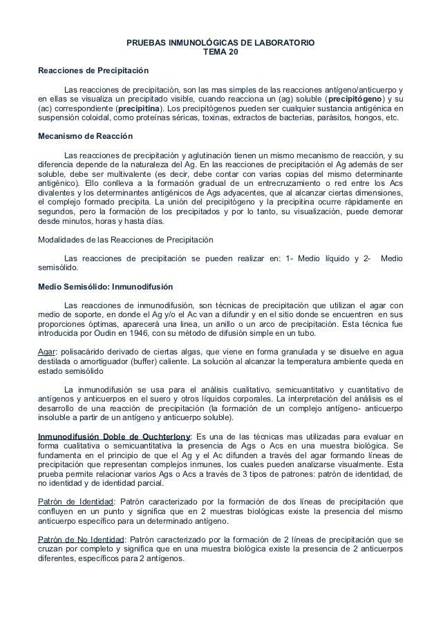 PRUEBAS INMUNOLÓGICAS DE LABORATORIO                                      TEMA 20Reacciones de Precipitación       Las rea...