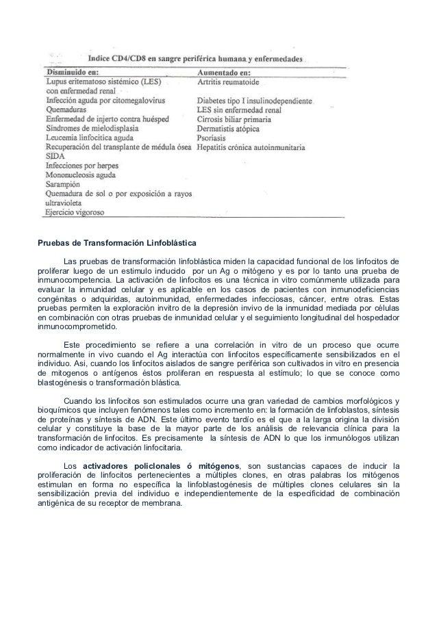 Pruebas de Transformación Linfoblástica        Las pruebas de transformación linfoblástica miden la capacidad funcional de...