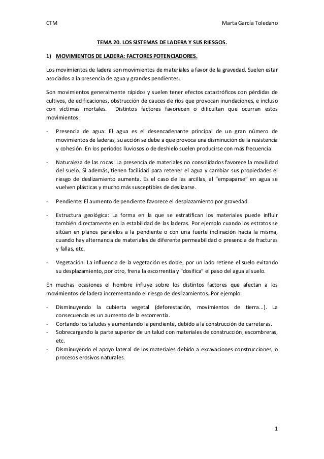 CTM Marta García Toledano 1 TEMA 20. LOS SISTEMAS DE LADERA Y SUS RIESGOS. 1) MOVIMIENTOS DE LADERA: FACTORES POTENCIADORE...