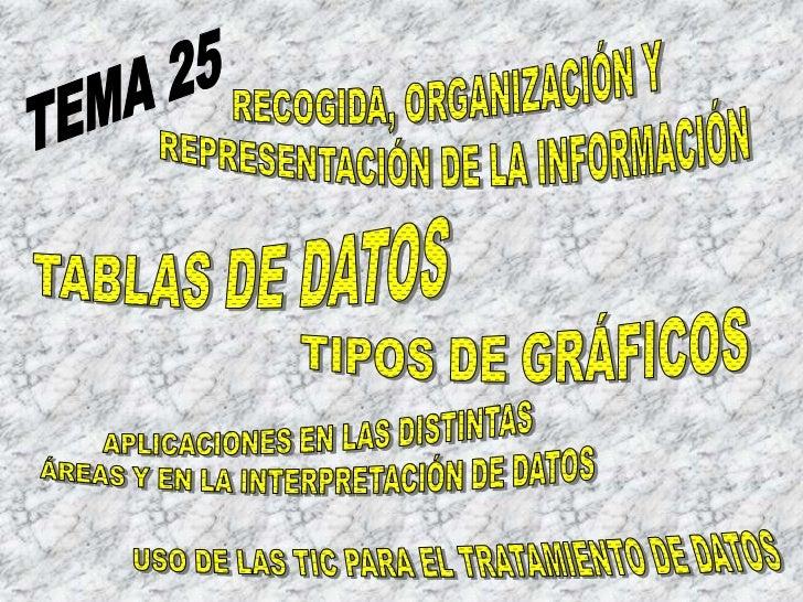 RECOGIDA, ORGANIZACIÓN Y <br />REPRESENTACIÓN DE LA INFORMACIÓN<br />TEMA 25<br />TABLAS DE DATOS<br />TIPOS DE GRÁFICOS<b...