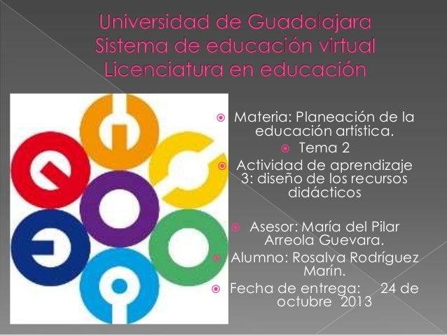     Materia: Planeación de la educación artística.  Tema 2 Actividad de aprendizaje 3: diseño de los recursos didáctico...