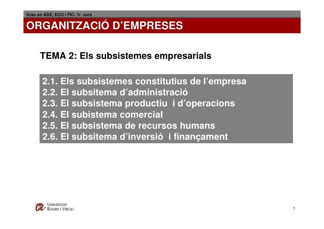 Grau en ADE, ECO i FIC: 1r curs   ORGANITZACIÓ D'EMPRESES        TEMA 2: Els subsistemes empresarials         2.1. Els sub...
