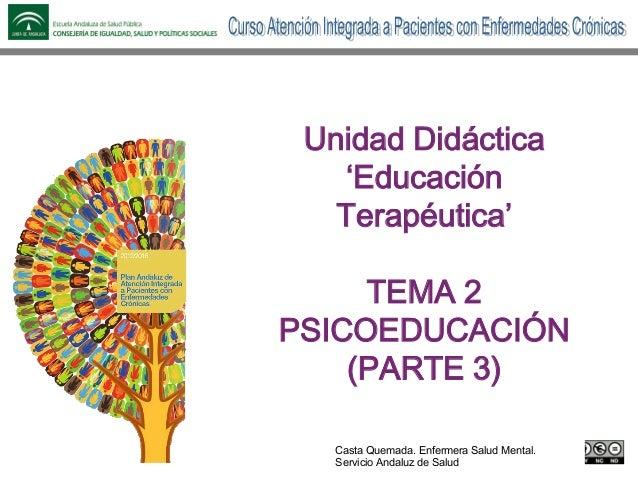 Nombre de la presentación Contribuyentes y organizaciones Unidad Didáctica 'Educación Terapéutica' TEMA 2 PSICOEDUCACIÓN (...