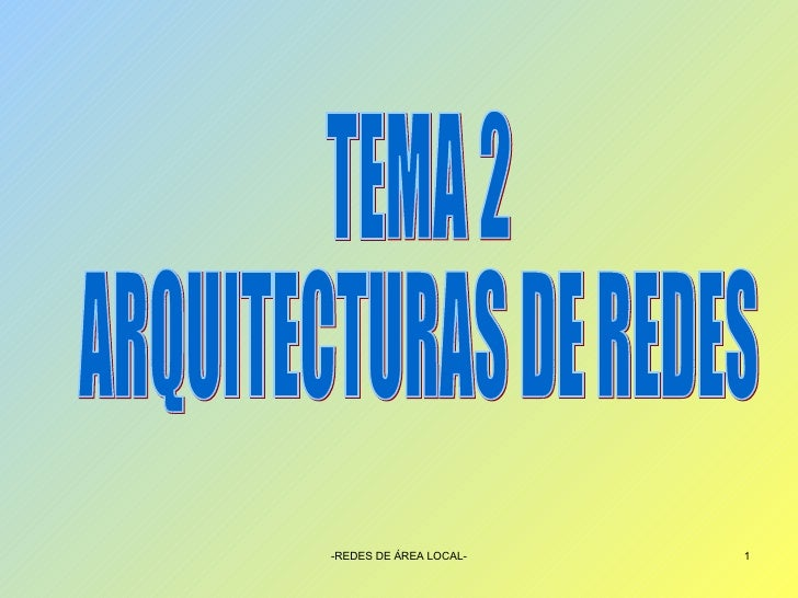 TEMA 2 ARQUITECTURAS DE REDES