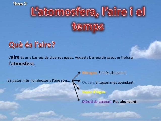 L'aire és una barreja de diversos gasos. Aquesta barreja de gasos es troba a  l'atmosfera. Nitrogen. El més abundant. Els ...